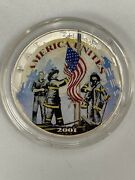 2001 American Silver Eagle Colorized Coin Remembering Our Heroes 9-11