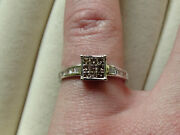 Champagne Princess And White Baguette Cape Diamond 9k White Gold Ring Size N-o/7