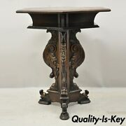 Antique Italian Renaissance Griffin Carved Walnut Pedestal Base Occasional Table
