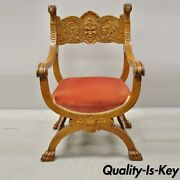 Antique Italian Renaissance Figural Carved Mahogany And Velvet Curule Throne Chair