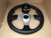 Steering Wheel Carbon Deep Dish W/red + Pro Armor Quick Release For Polaris Rzr