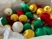 Vintage Silk String Christmas Ornaments Lot Of 50 Xmas Tree Red Green Gold White