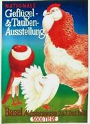 Original Vintage Poster Poultry And Pigeon Expo Basel 1933
