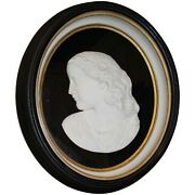 Richard Hamilton Park 19th C Carved Marble Bust Of A Young Woman In Oval Frame