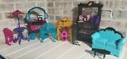 Monster High Furniture Lot- Cafe Cart Set..coffin Bean..dj Set..couch And Table