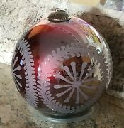Vintage 10 Red Kugel Glass Christmas Ornament Etched Metal Cap Pottery Barn