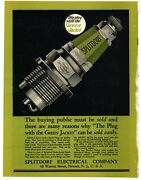 1921 Splitdorf Electrical Company Ad 1 Page 2 Sided Green Jacket Spark Plugs