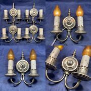Set Of Four 4 Antique Nickel Two Arm Wall Sconces Nice 82b