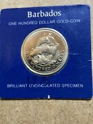 1625-1975 Anniversary Gold Coin Barbados One Hundred Dollar Uncirculated