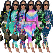 New Stylish Women Colorful Print Hoodie Long Sleeves Casual Sport Tracksuit 2pcs