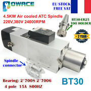 【fr】4.5kw 380v Automatic Tool Change Atc Bt30 Air Cooled Spindle Motor 24000rpm