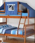 Jayden Twin Over Full Bunk Bed With Blue Tent