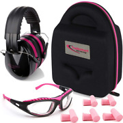 Shooting Range Earmuffs And Glasses Safety Ear Eye Protection Anti-scratch Pink