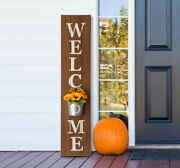 Glitzhome 42and039and039 Wooden Welcome Porch Sign With Metal Planter Farmhouse Fall Decor