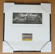Detroit Tigers Framed Briggs Stadium Artist Proof With 1956 Topps Team Card