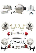 55-58 Gm Full Size Front And Rear Performance Disc Brake Kit Red Calipers