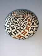 Rachel Concho Acoma Pueblo / X- Large Seed Pot Butterflies And Flowers Polychrome