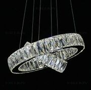 Led 2 Ring 50x30cm K9 Crystal Cool White Dining Room Kitchen Cord Pendant Lamp