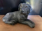 Vintage Classic Critters 1984 Black Lab Resin Stone Sculpture Figurine 9andrdquo Long