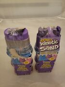 Lot Of 2 Kinetic Sand Shimmer 3 Pack With Sandcastle Mold Blue Purple Pink New