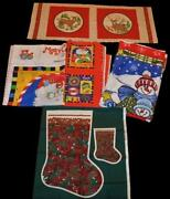 Huge Lot Of Christmas Fabric Panels And Quilt Block + Stocking + Free Fleece Panel