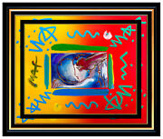 Peter Max Acrylic Painting Original I Love The World Signed Pop Art Oil Iconic