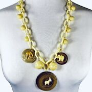 Celluloid Charms Necklace, Early Crackerjack Animals And Buttons Artisan Creation