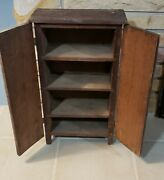 Childs Cabinet Antique Primitive Wood Doll Hutch Cupboard Pantry Handmade