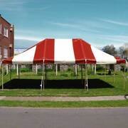 20x30' Pole Tent New Red White Premium Canopy With Side Poles Used Center Poles