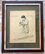 Lou Trippel Signed And Personalized Framed Art Sketch Japanese Boy Fishing 1973