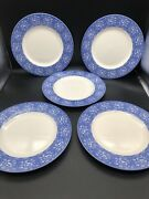 Lot 5 Queenand039s Albertine English Blue White 10 3/4andrdquo Dinner Plate Cottage Chic
