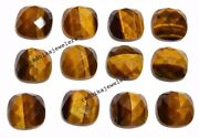 Natural Tiger Eye Loose Gemstones Cushion Shape Checker Cut Size In 21mm To 25mm
