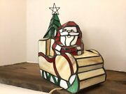 Santa's Sleigh With Presents Style Stained Glass Accent Lamp Santa Claus