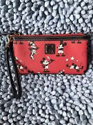 Dooney And Bourke Disney Minnie And Mickey Mouse Retro Red Wristlet.