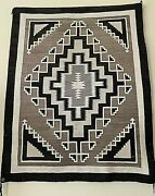 Antique Navajo Two Grey Hills Rug/blanket.brass Trading Post Tag.1920-30s.56x44