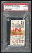Eddie Mathews Hr 348 Home Run 1961 6/2/61 Braves Cardinals Ticket Stub Psa