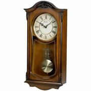 Nice Wood Grandfather Style Chiming Wall Clock Walnut Roman Numeral 19 9 3.75