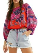 Free People Blue Nile Printed Top Blouse Size Xs Pop Combo Msrp 108 Nwt