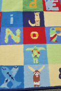 Pottery Barn Kids Multi Colors My Alphabet Letters Abc Wool Area Rug 5' X 8' New