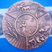 A Pair Of 2020 China 90mm Brass And Copper Medals - Chinese Fan Painting
