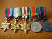 Vintage Canada World War Ii Miniature Military Medal Group 2 Medals 3 Stars