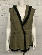 Bke Green Sleeveless Hooded Vest With Black Accents Distressed Bottom Size L