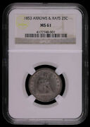 1853 Arrows And Rays Seated Liberty Silver Quarter Dollar Rainbow Reverse C...