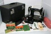 Singer 221-1 Featherweight Sewing Machine And Accessories 1952