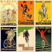 Vintage Bicycle Tire Posters - Set Of 6 Posters - Cycling - Racing