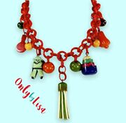 Bakelite And Celluloid Colorful Charms Pennants Necklace, Bib, Statement Necklace