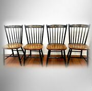 Hitchcock Furniture Set Of Four High Back Spindle Chairs - Gold Designs