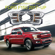 Led Headlight Corner Lamps L+r Projector For Ford F150 20182020 Chrome Housing