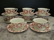 Hadson Delicate China Made In Occupied Japan 8 Cups And Saucers Red Rust Flowers