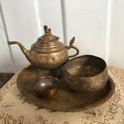 Vintage Brass Teapot Coffee Cup Set Serving Trays Embossed Metal Sign Home Decor